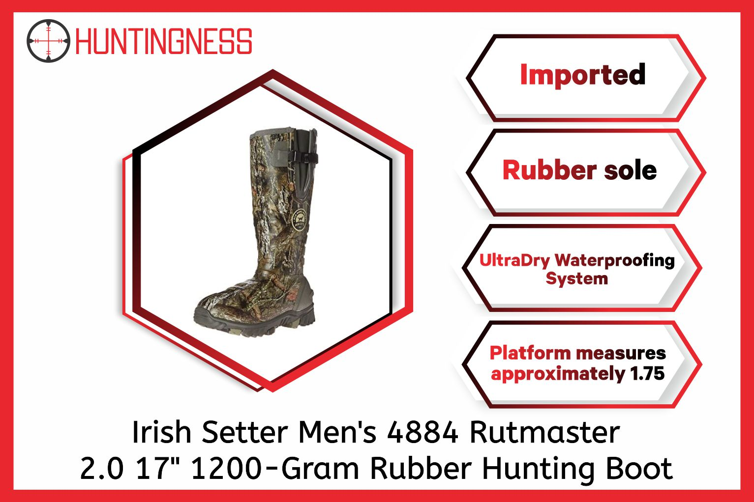 "Irish Setter Men's 4884 Rutmaster 2.0 17"" 1200-Gram Rubber Hunting Boot infographics"