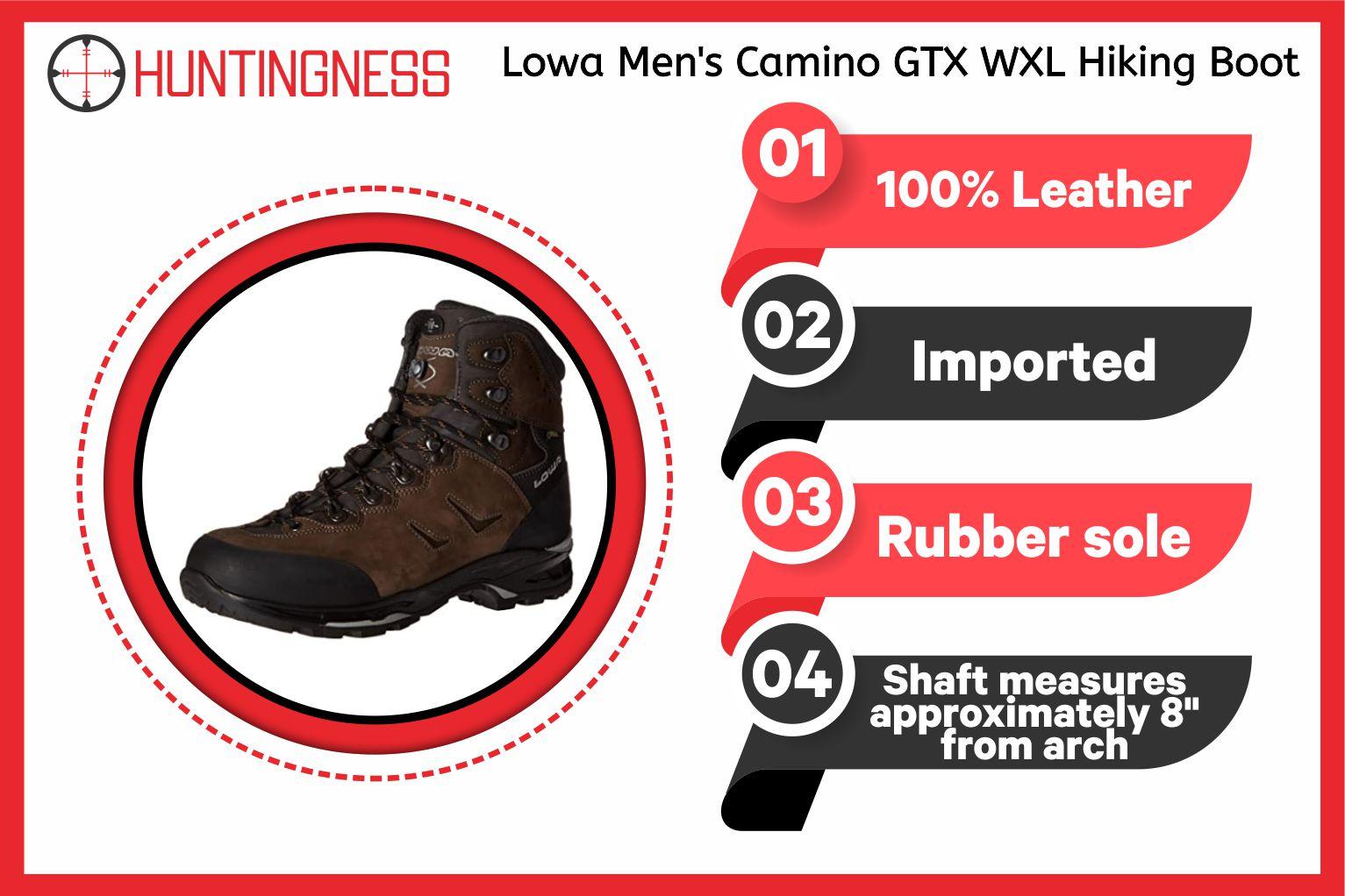 Lowa Men's Camino GTX Hiking Boots infographics