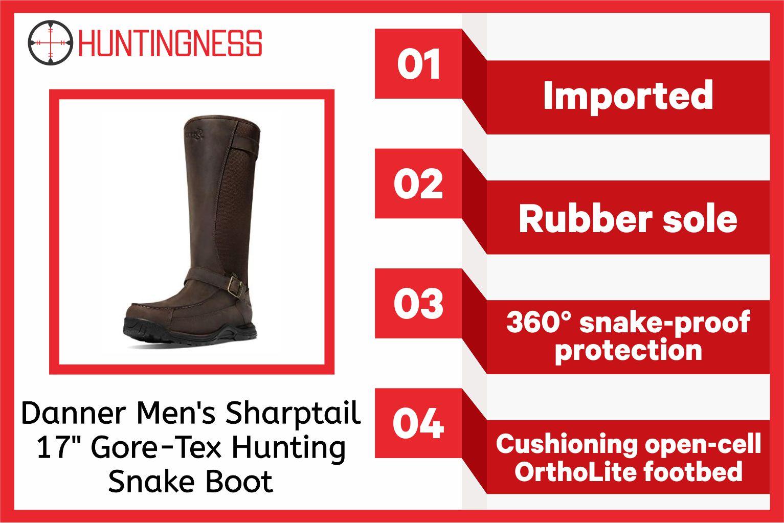 Danner Men's Sharptail 17 Gore-Tex Hunting Snake Boot infographics
