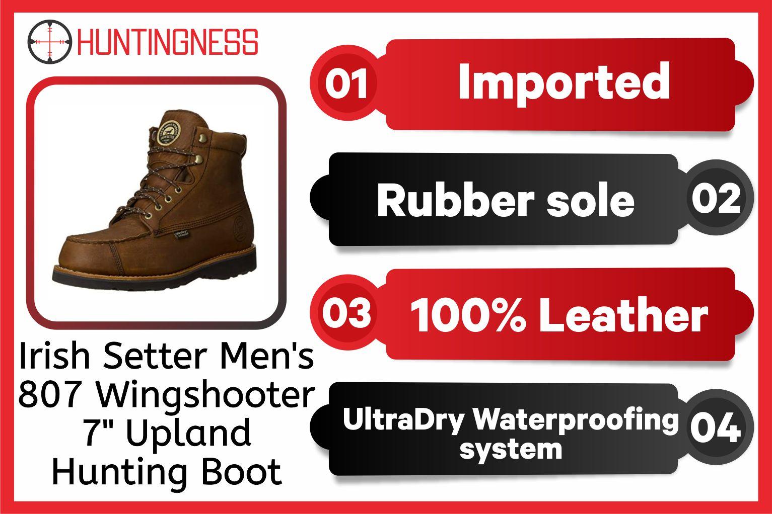 "Irish Setter Men's 807 Wingshooter 7"" Upland Hunting Boot infographics"