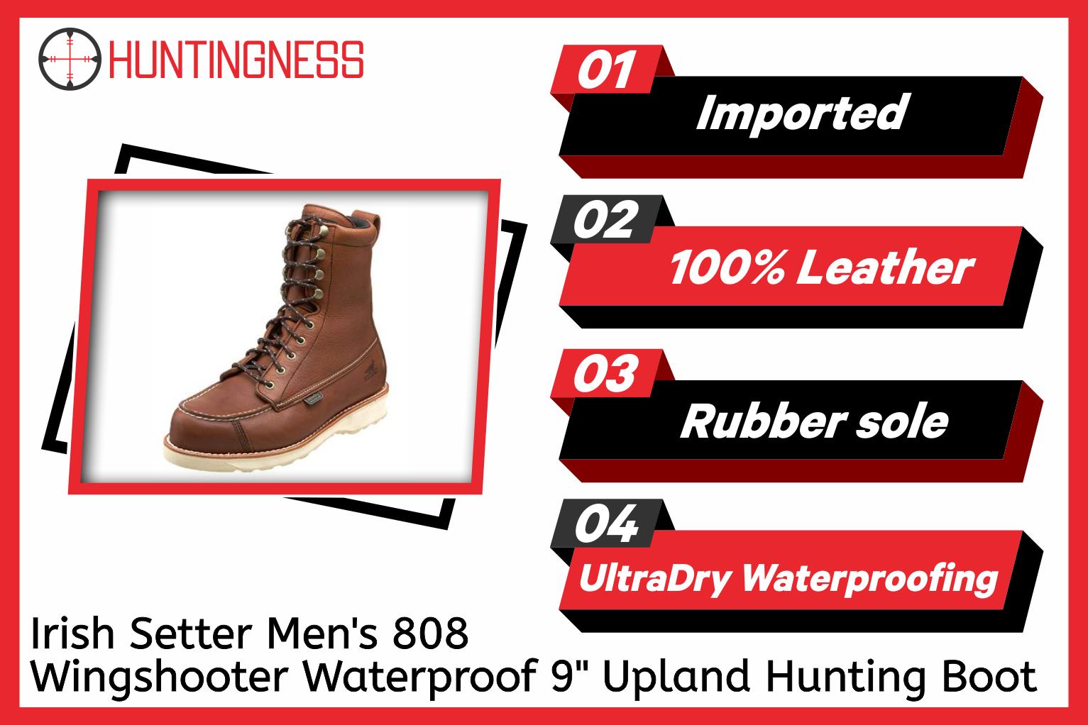 "Irish Setter Men's 808 Wingshooter Waterproof 9"" Upland Hunting Boot infographic"