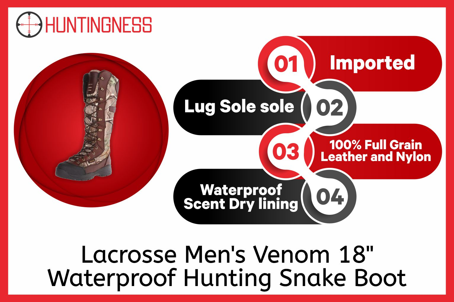 "Lacrosse Men's Venom 18"" Waterproof Hunting Snake Boot infographics"