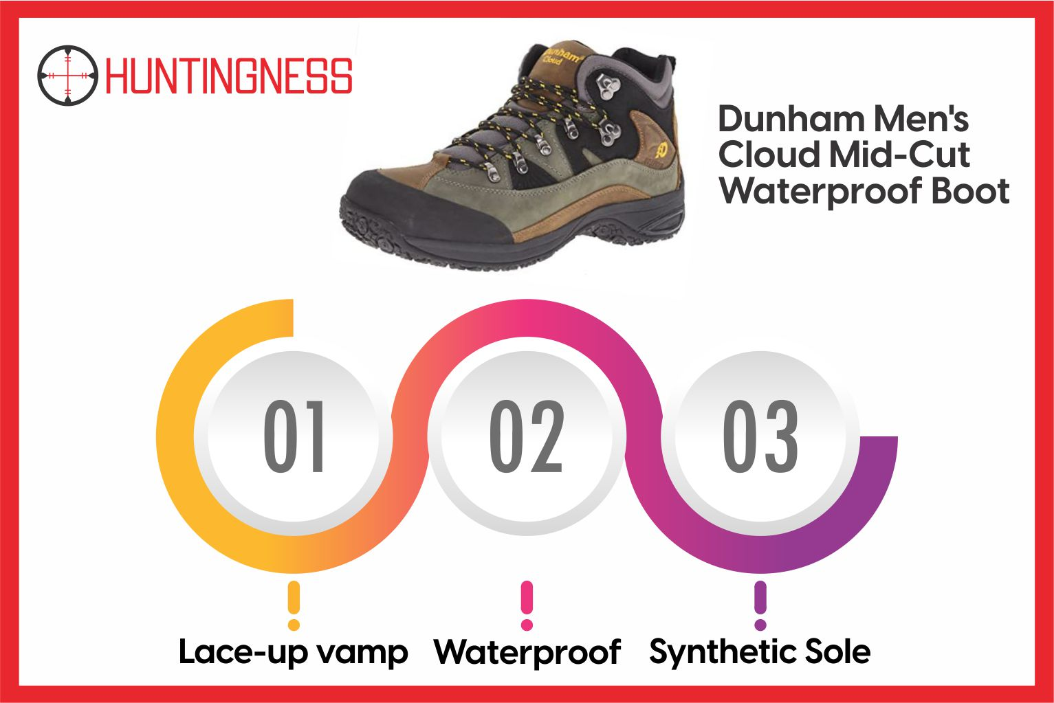 Dunham Men's Cloud - Mid-Cut Waterproof Boots Infographics