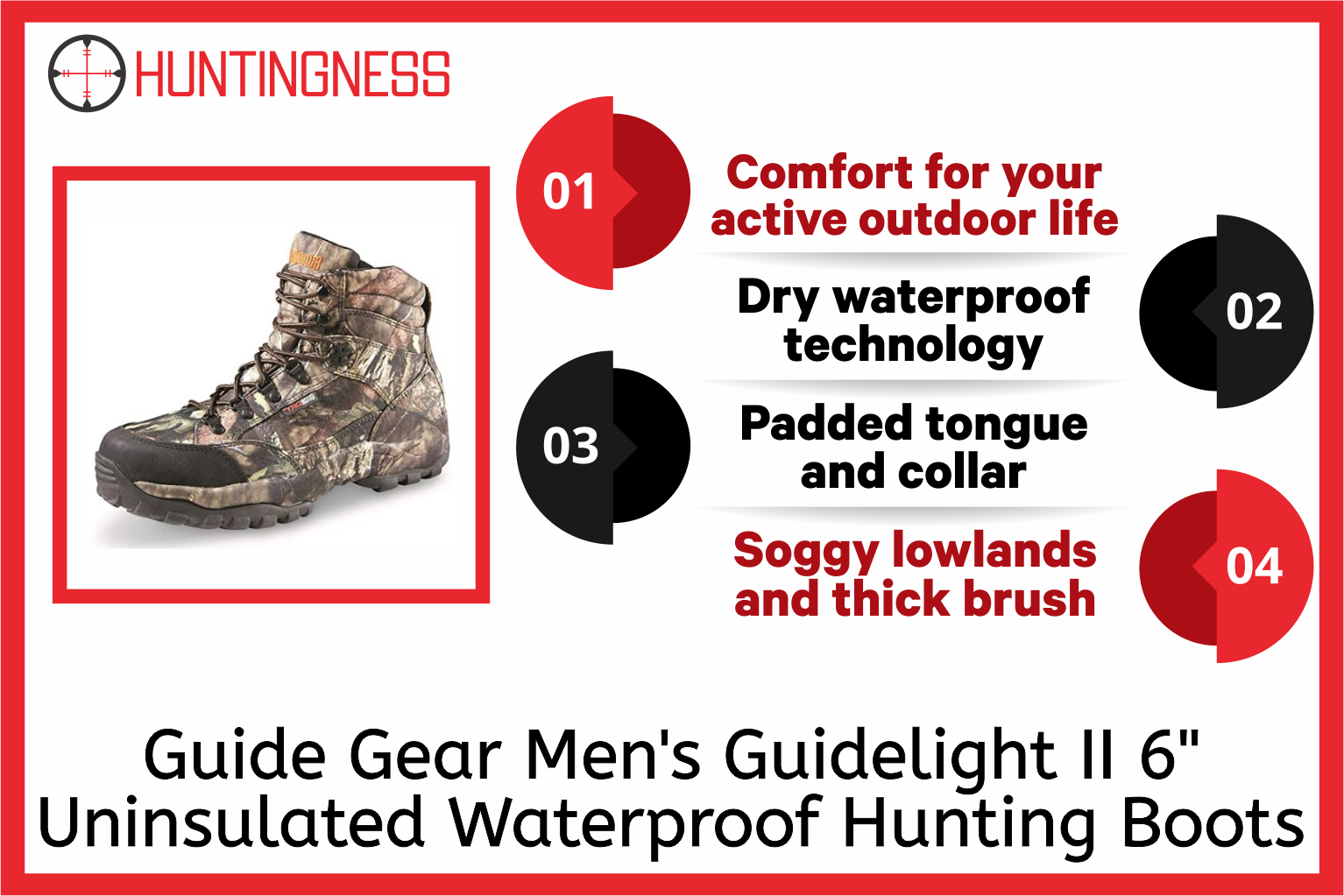 Guide Gear Men's Guidelight II 6 Uninsulated Waterproof Hunting Boots infographics