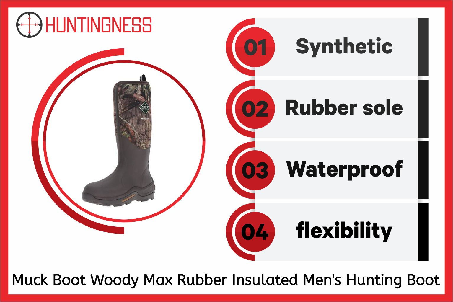 Muck Boot Woody Max Rubber Insulated Men's Hunting Boot infographic