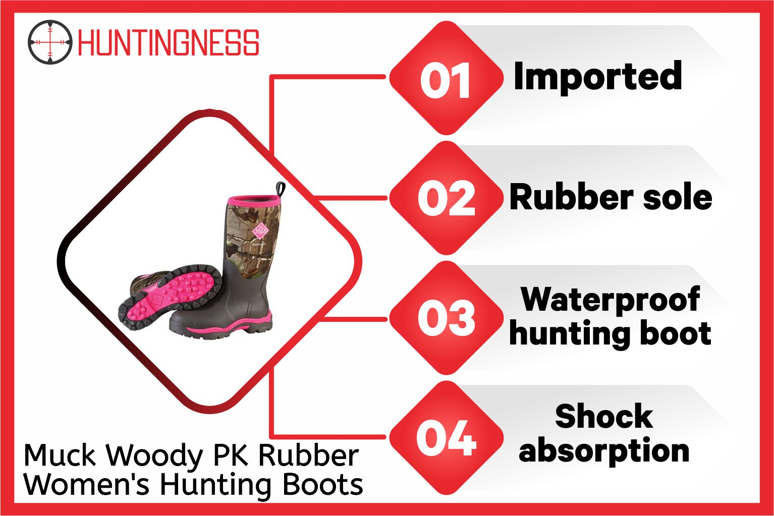 Muck Woody PK Rubber Women's Hunting Boots infographic